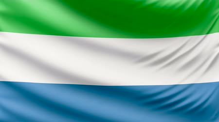 sierra leone flag : Realistic beautiful Sierra Leone flag 4k Stock Footage