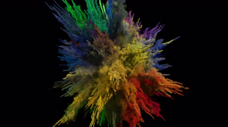 estouro : Animation of a colored explosion of a powder. 3D rendering.