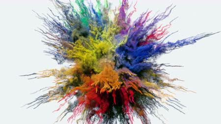 spektrální : Animation of a colored explosion of a powder. 3D rendering.