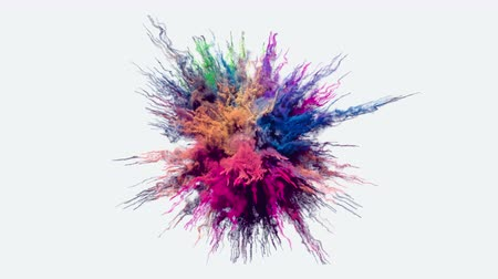puder : Animation of a colored explosion of a powder. 3D rendering.