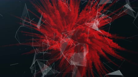 apocalypse : Red explosion of a powder with a plexus. Stock Footage