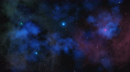 gömbölyű : Stars fly past on a background of clouds and gas in space