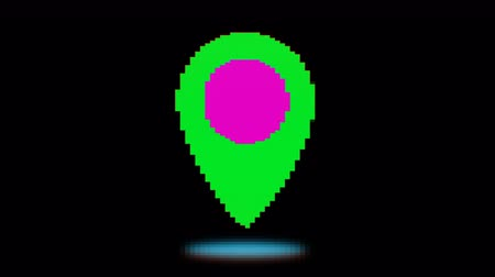 rastr : Bright pixel map point. Old vintage retro video