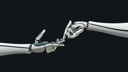 motivo : Robot arm, bionic prosthesis, connection, communication. Stock Footage