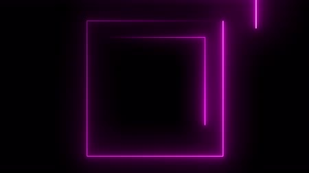 неон : Abstract background with neon light, square,cube. Стоковые видеозаписи