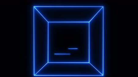 illúzió : Abstract background with neon light, square,cube. Stock mozgókép