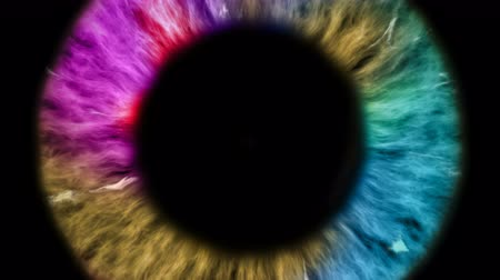 ver : The colored eye is an extreme close-up of the iris and pupil, widening and tapering.
