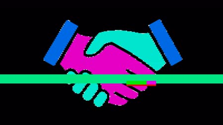pictograma : Bright pixel handshake. Old vintage retro video