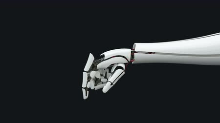 motivo : Robot arm, bionic prosthesis, push the button, future, technology. Slow motion. Stock Footage