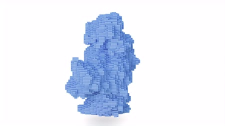 collectible : Cg animation of the blue explosion of bricks, blocks.
