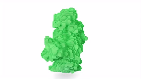 editorial : Cg animation of the green explosion of bricks, blocks. Stock Footage