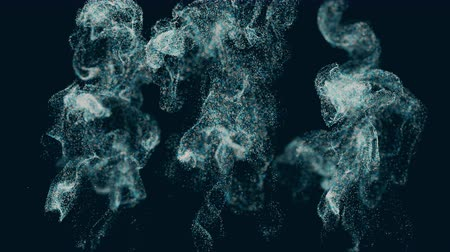 smoke motion : A floating cloud of dust particles collides, isolated against a black background. Beautiful bokeh.Dynamic particles.4K