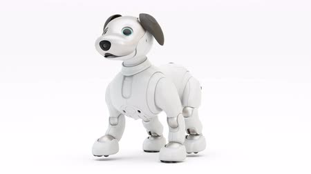 Robotachtige hond Aibo. Robot. 3D render. 4K. Looping beweging.