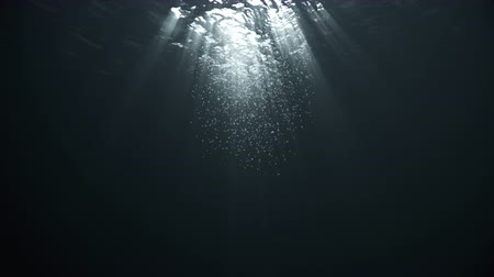 Rays of Sunlight Penetrate Clear Water, Air Bubbles Rise to the Surface. Стоковые видеозаписи