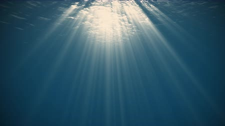 Rays of Sunlight Penetrate Clear Water.