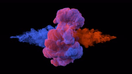 danger of collapse : Collision of colored smoke.l. The collapse of smoke in slow motion on a black background.