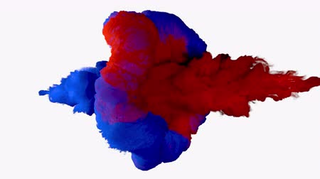 danger of collapse : Collision of colored smoke.l. The collapse of smoke in slow motion on a white background.