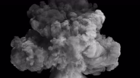 grenade : Fighting, a symbol of good and evil. The collapse of smoke in slow motion on a black background.