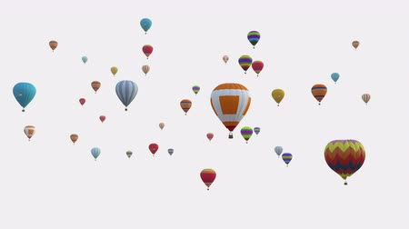 deşarj : Colorful balloons on a white background. Balloon festival. Depth channel and alpha channel included. Stok Video