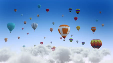 descarga : Colorful balloons on flying through the clouds. Balloon Festival. Vídeos