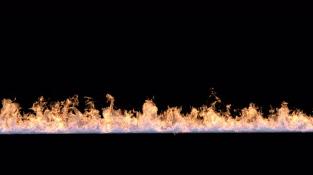 Line of fire in slow motion isolated on black.