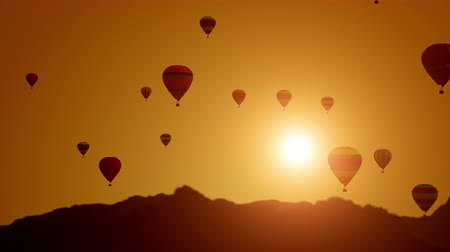 Balloons on a sunset background. Balloon Festival. Super slow motion