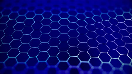 Abstract blue beautiful octagon background. Technologically. Stockvideo