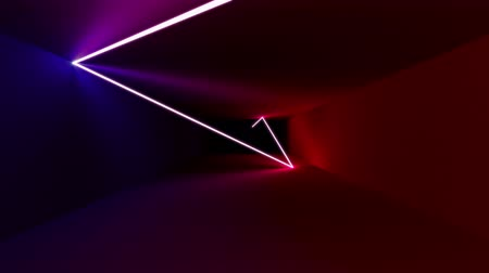 Beautiful abstract seamless animation of neon, glowing light lines, lasers and tubes moving forward in a dark tunne
