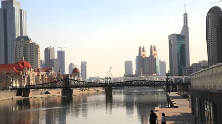 mosty : riverside view of tianjin, china