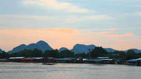maeklong : Evening at maeklong river, kanchanaburi, thailand