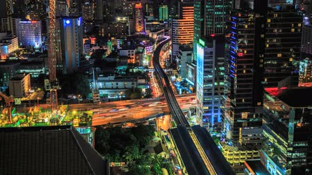 urban skyline : Bangkok traffic at night (Timelapse)