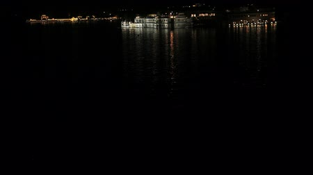 pichola : Night scene of Lake Palace in Udaipur, Rajasthan State, India Stock Footage