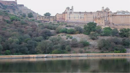 amer fort : Amber Fort in the evening Stock Footage