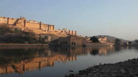 amer fort : View at Amber Fort and reflection in the evening