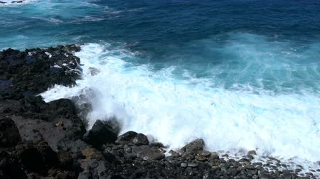 shoreline : Wave in the Pacific Ocean at the shore of Easter Island, Chile Stock Footage