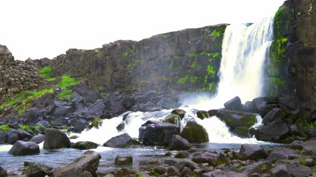 southwest iceland : Oxararfoss waterfall at Thingvellir National park in the tourists golden circle, Iceland