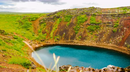 southwest iceland : Time lapse of Kerid volcanic crater lake in the Grimsnes, southwestern Iceland