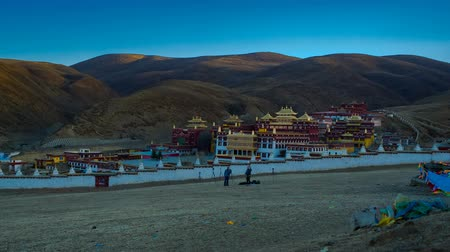 Timelapse of light and shadow at Litang Monastery in the morning, Sichuan, China