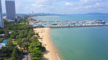 Aerial view of Pattaya Beach in Thailand in the morning Stok Video