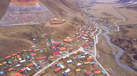 Aerial view of Tibetan Monastery and small village in Kanze Sichuan China