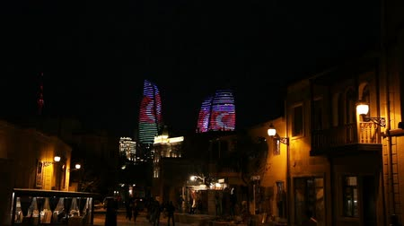 Night scene of the famous Flame Towers in Baku, Azerbaijan