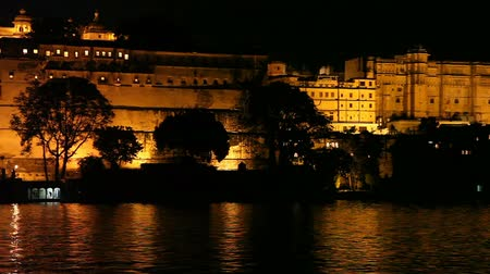 Night scene of The City Palace in Udaipur, India