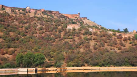 View of Amber Fort and Maota Lake in Rajasthan, India
