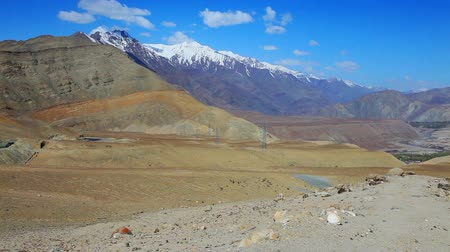 Landscape of snow mountain and the river in Lah, Ladakh, India