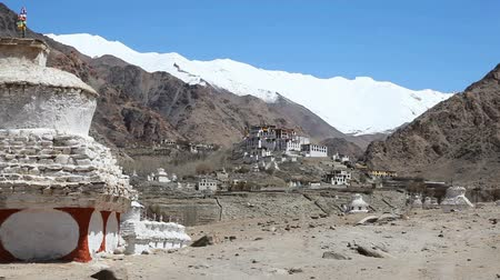 View of likir Monastery with seated Buddha on the hill in Ladakh India Stok Video