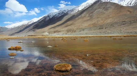 Sunny day with snow mountain and lake of clear water in Ladakh, India