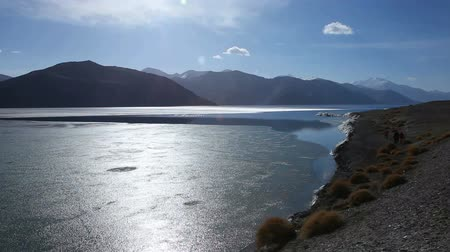 View of Pangong Lake in Ladakh, India, with tourists walking at the shore Stok Video