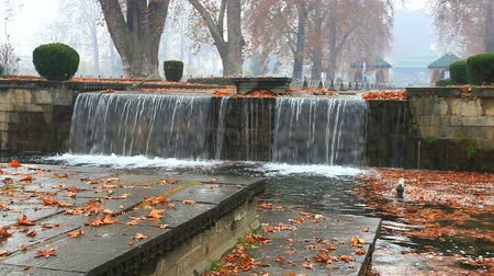 View of fountain and flowing water in Shalimar Bagh of Srinagar in Kashmir, India