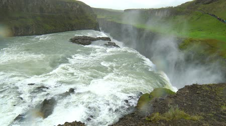 View of Gullfoss Waterfalls in the canyon of the Olfusa river in Southwest Iceland 4K UHD