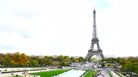 View of Eiffel Tower in Paris, France Stok Video